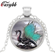 Caxybb 2017 Blue Dragon Necklace Handmade glass dome Jewelry Long art Photo Necklace Charm Fantasy wing