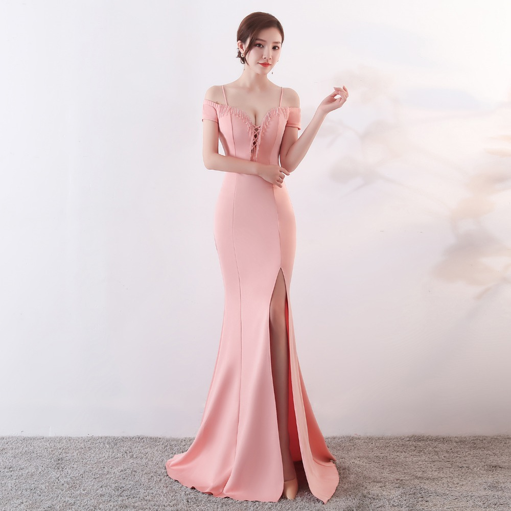 CX SHINE SEXY beading champagne mermaid trumpet long evening dresses robe de soiree blue burgundy prom