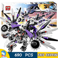 690pcs Bela 10224 Ninja Nindroid Mech Dragon Building Blocks Set Toys Compatible With Lego Christmas Gifts