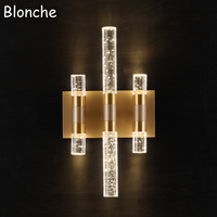 Post modern Bubble Crystal Wall Lamp Luxury Led Wall Sconce Bedroom Bathroom Mirror Light Home Decor Lighting Fixtures Luminaire