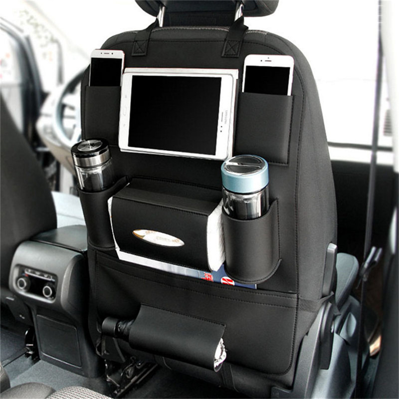 Hiyork Multi-function Car Back Seat Organizer Beverage Storage Bag Stowing Tidying Tablet Phone Holder Interior Accessories Auto