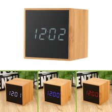 LED Digital Alarm Clock Sound Activated USB/AAA Batteries Powered Bamboo Cube Clock Perfect for Desktop Home Office Travel(China)