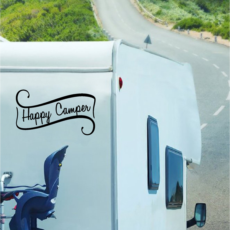 Happy Camper Decals Travel Trailer Decor , Camping Vinyl Mural Art Sticker For RV Camper Decoration(China)