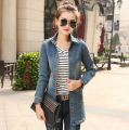Women's Blue Lapel OuterwearJacket Jean Denim Long Sleeve Coat Top Quality