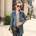 Women's Blue Lapel OuterwearJacket Jean Denim Long Sleeve Coat Top Quality