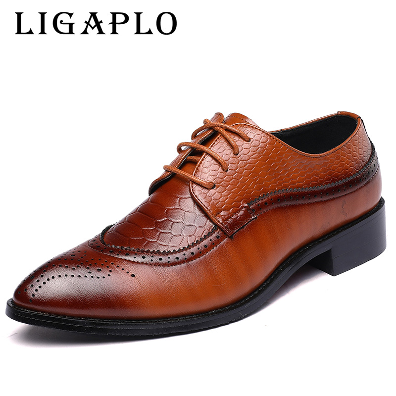 2018 Winter New Stylish High-quality Leather Lace Up Men italian Oxfords Office Business Casual Dress Shoes With big size 48