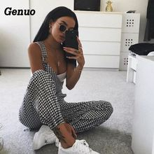 Genuo Checkerboard Women Overalls Casual Romper Jumpsuit Spring Autumn Backless Strap Checkered Female Black White Playsuit