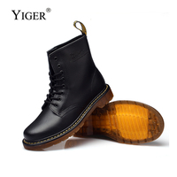YIGER New Men Martins Boots men's Desert Boots Genuine Leather lace up casual shoes male tooling boots Couple boots winter 0229