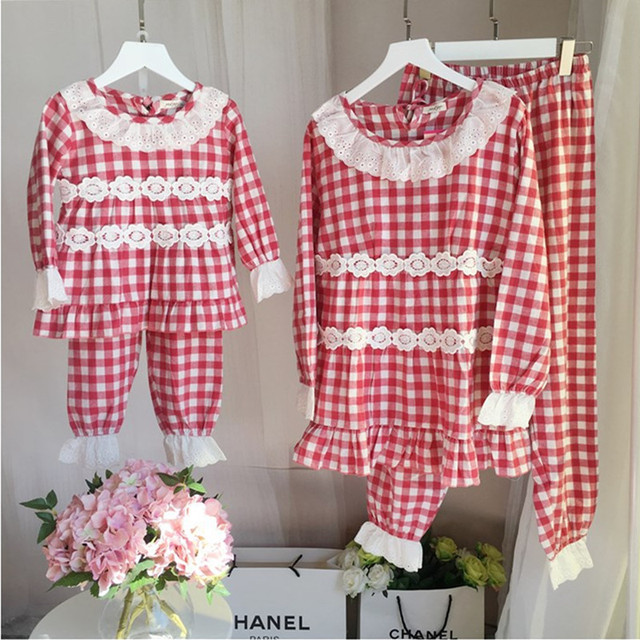 family matching clothes spring o-neck long sleeve plaid printed lace casual clothing set mother and daughter pajamas 2pcs
