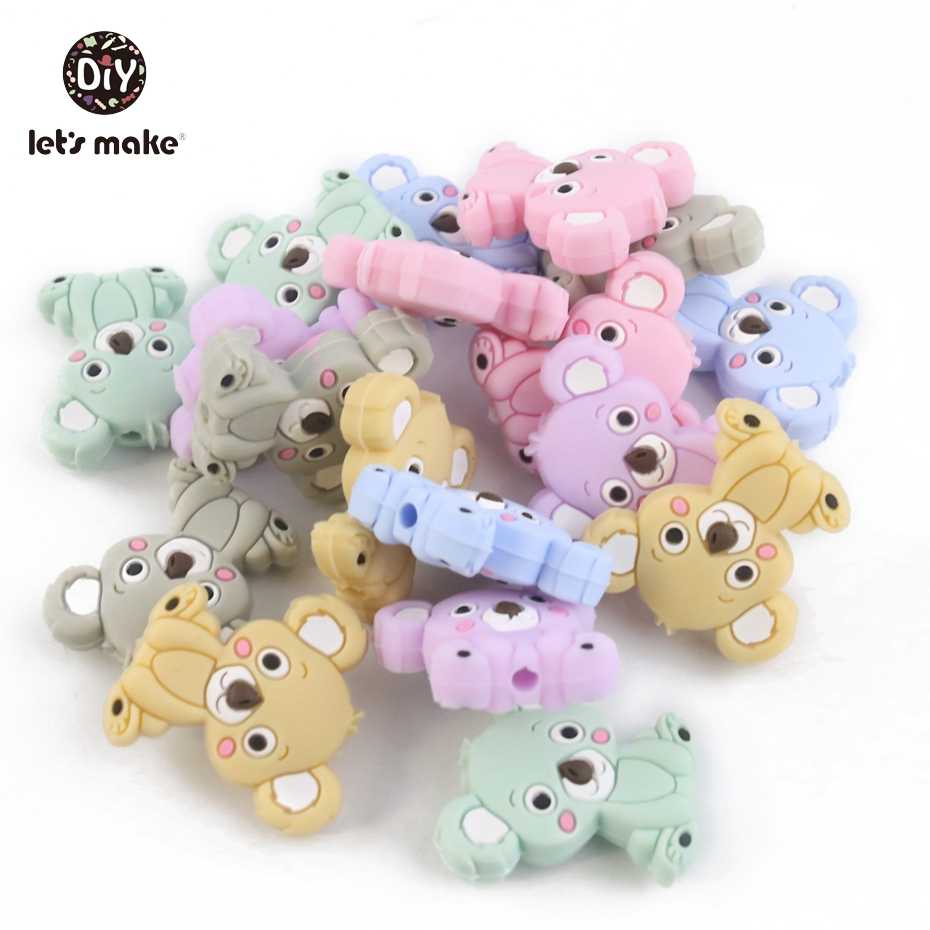 Let's Make 100pcs Wholesale Koala Silicone Teething Beads Diy Chain Accessories BPA Free Silicone Beads For Kids Baby Teether
