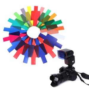 Image 2 - 20 cartões de filtro de gel de cor fotográfica conjunto flash speedlite para canon 10166