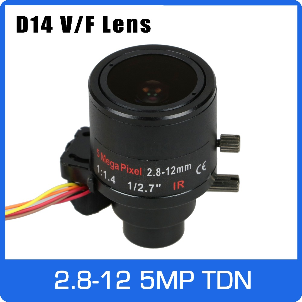 5Megapixel 1/2.7 inch Varifocal Lens 2.8-12mm D14 Mount IR-CUT and DC-IRIS Manual Focus and Zoom For 1080P/5MP CCTV IP Camera 3megapixel dc auto iris varifocal cctv lens 1 1 8 inch 4 18mm c mount for sony imx185 1080p box camera ip camera free shipping