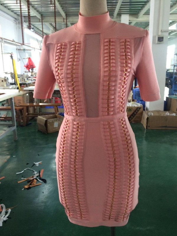Top Quality 2 Colors Celebrity Short Sleeve Mesh Hollow Out Rayon Bandage Dress Cute Cocktail Party