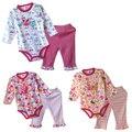 Venda quente de Primavera Outono 100% Algodão Conjuntos de Roupas Romper Do Bebê Menina Roupa do bebê Roupa Da Criança Se Adapte t shirt Calças Bebê conjuntos