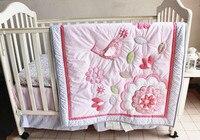 プロモーション! 7 ピース刺繍アップリケ 3d バーディー花ベビー ベビーベッド寝具セット 、含める (バンパー +布団+ ベッド カバー + ベッド スカート)