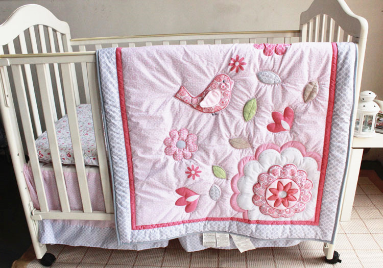 Promotion! 7PCS embroidery Appliqued 3D Birdie Flower Baby Cot Crib Bedding set ,include(bumper+duvet+bed cover+bed skirt) promotion  7pcs embroidery appliqued 3d