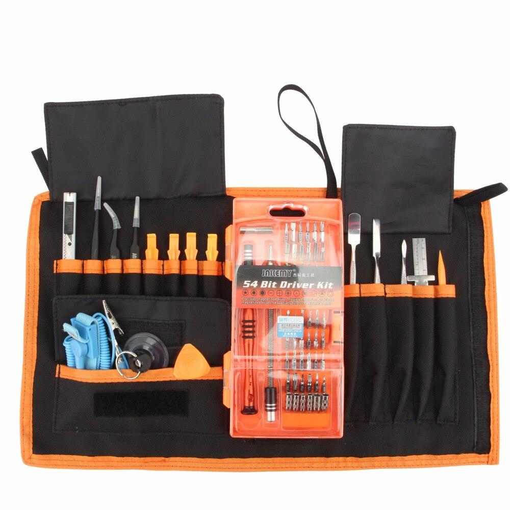 JAKEMY 74 en 1 Kit d'outils de réparation professionnel jeu de tournevis outil d'ouverture couteau règle pince à épiler entretien Ferramentas