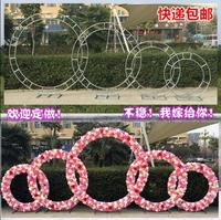 The new wedding wedding background decoration items, wrought iron ring ribbon bow door wedding, wrought iron ring circular arch