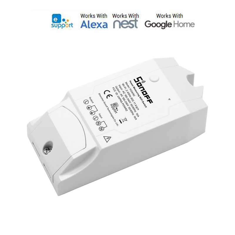 Sonoff Pow R2 15A 3500W Wifi Smart Switch Higher Accuracy Power Consumption Measure Monitor Current Energy Usage Work With Alexa in Automatic Curtain Control System from Home Improvement
