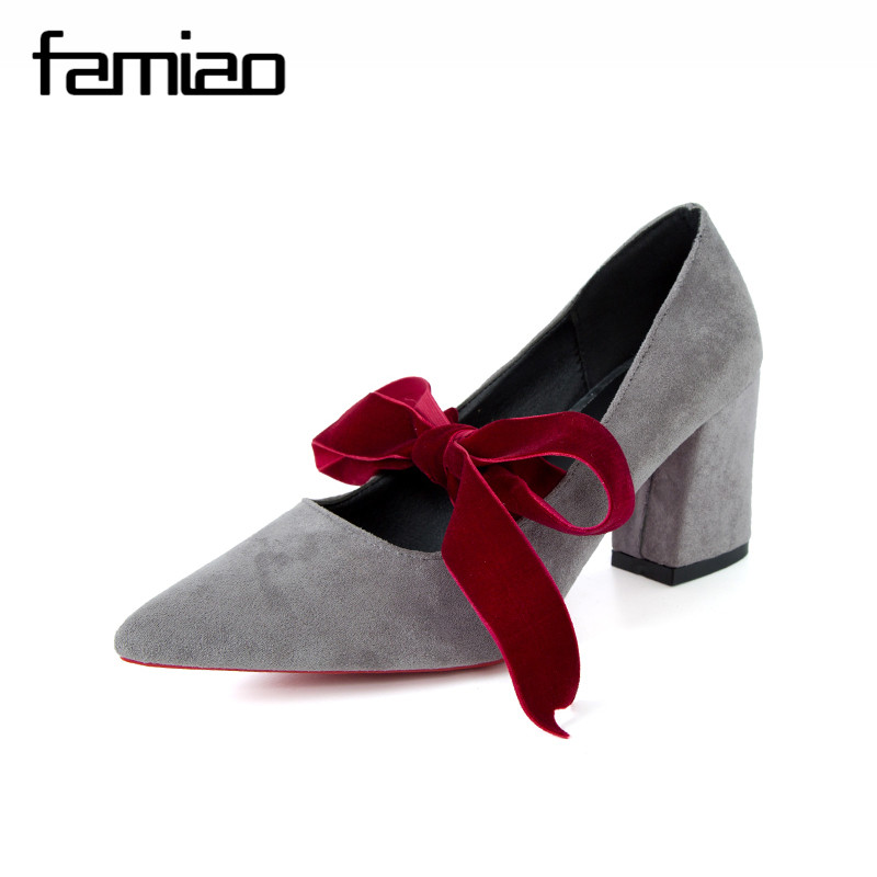 FAMIAO Fashion High Heels Women Pumps Platform Women Shoes Lace Up Shoes Woman Best Quality Thin Heels Black red flock pumps 2017 new high heeled shoes woman pumps wedding shoes platform fashion women shoes red high heels 11cm suede free shipping 186