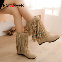 ENMAYER Flat with Mid-Calf Flock Fringe Winter Boots Women Round Toe Chain Leopard Lining Shoes Autumn