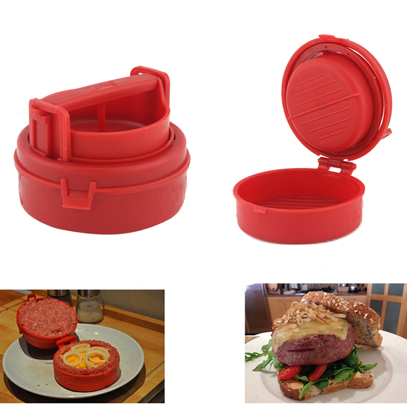 2016 New Red Plastic Hamburger Presses Kök Kött- och Fjäderfä Verktyg Burger Press Kött Hamburguer Makers Machine Cooking Tools