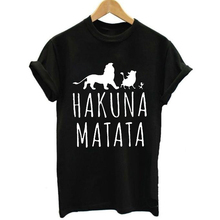 FIXSYS Hakuna Matata Letter Print Tee Shirt Fashion Women Short Sleeve T  Casual Tops Graphic T-shirts Female Tees