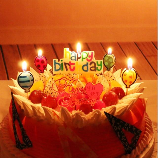 1pcs Happy Birthday Cartoon Balloon Suit Toothpick Cake Candles Cute