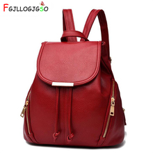 FGJLLOGJGSO Fashion Women Backpack High Quality PU Leather School Bags For Teenagers Girls bagpack Top-handle Travel Backpacks