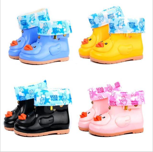 Çocuklar Sevimli Ördek yağmur çizmeleri Boys & Girls Karikatür lastik çizmeler Jöle Ayakkabı Çocuk Su Geçirmez Ayakkabı Şeker Renk Kaymaz yağmur çizmeleri