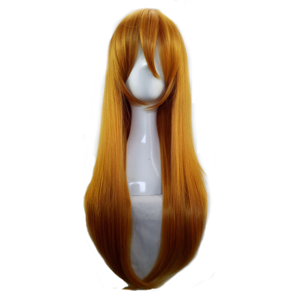 HAIRJOY  Synthetic Hair Woman 70cm Long Straight  Braided Orange Blonde Party  Wigs +2 Clips Ponytail Cosplay Wig 6