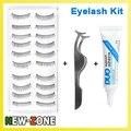 Kit de maquiagem Falso Pestana Maquiagem 10 pares de cílios falsos + Clipe + Cola de cílios Naturais Falso Estilo para o Uso Diário