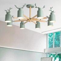 Lampes nordiques salon lustre simple personnalité créative chambre lampe étude chambre d'enfants restaurant macaron style lampe