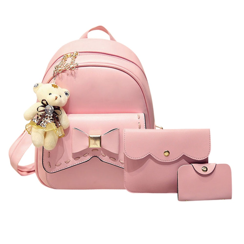 2017 Fashion Bowknot Backpack Women Leather School Bag For Teenage Girls Backpacks with Purse and Bear 3pcs/set sac a dos jmd backpacks for teenage girls women leather with headphone jack backpack school bag casual large capacity vintage laptop bag