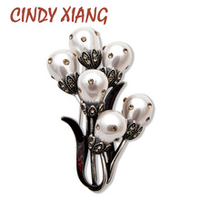 CINDY XIANG New Fashion Large Pearl Flower Brooches for Women Vintage Design Wine Red Color Wedding Jewelry Pins Good Gift 2019
