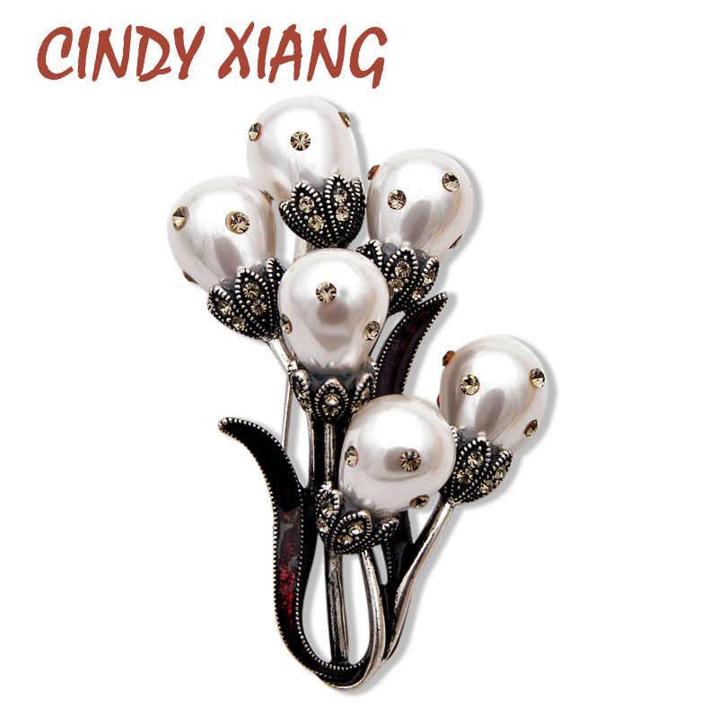 Cindy Xiang Baru Fashion Besar Mutiara Bunga Bros untuk Wanita Vintage Desain Anggur Merah Pernikahan Perhiasan Pin Hadiah Yang Bagus 2019