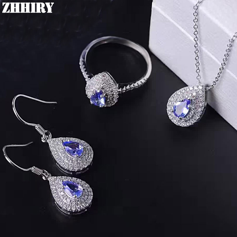 ZHHIRY Women Natural Tanzanite Jewelry Sets Gemstone Pendant Necklace Earrings Ring Genuine 925 Sterling Silver Fine JewelleryZHHIRY Women Natural Tanzanite Jewelry Sets Gemstone Pendant Necklace Earrings Ring Genuine 925 Sterling Silver Fine Jewellery