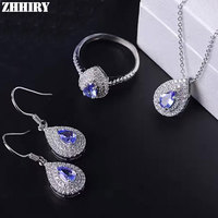 ZHHIRY Women Natural Tanzanite Jewelry Sets Gemstone Pendant Necklace Earrings Ring Genuine 925 Sterling Silver Fine Jewellery