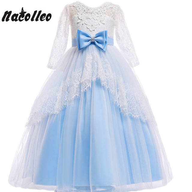 b403d8929fb2 Online Shop Girls Backless Dress Elegant Long Prom Dresses Kids Lace Party  Frocks For Teenagers Girls Birthday Evening Communion Outfits