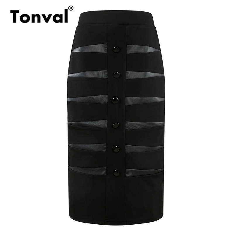 Tonval Bodycon Black Midi Skirts Womens Leather Patchwork Pencil Skirt 4XL 5XL Buttons Summer Plus Size Skirt