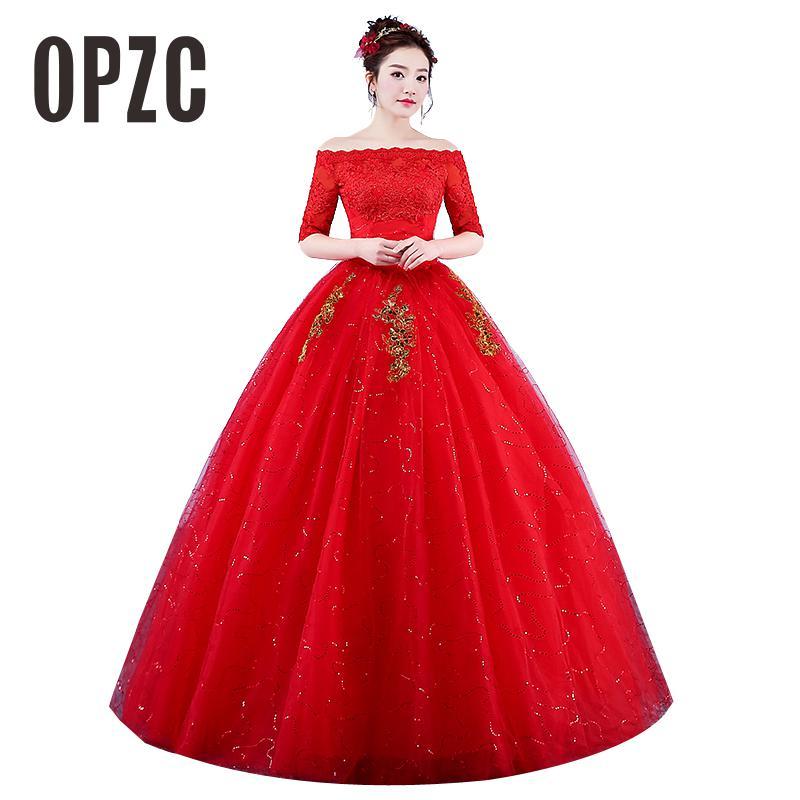 Real Photo Wedding Dresses 2020 Boat Neck Lace Half Sleeve Red Romantic Bride Princess Gold Embroidery Gown Vestido De Novia