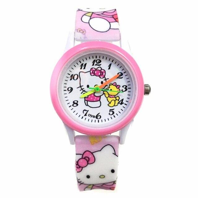 Hello Kitty Cute Children Watches Cartoon Straps Baby Clocks Girls Boy Pink Relo