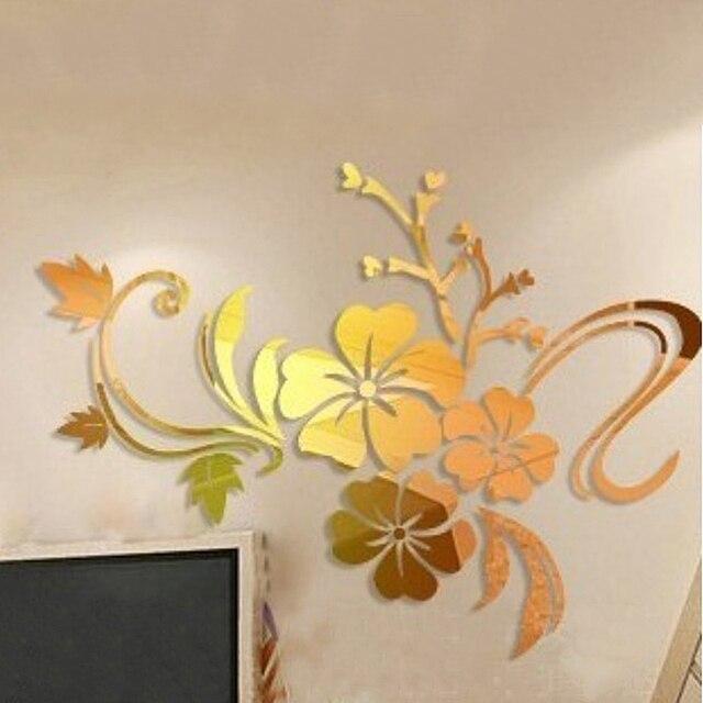 D DIY Art Plum Flower Wall Mirror Stickers Self Adhesive Acrylic - Wall decals mirror