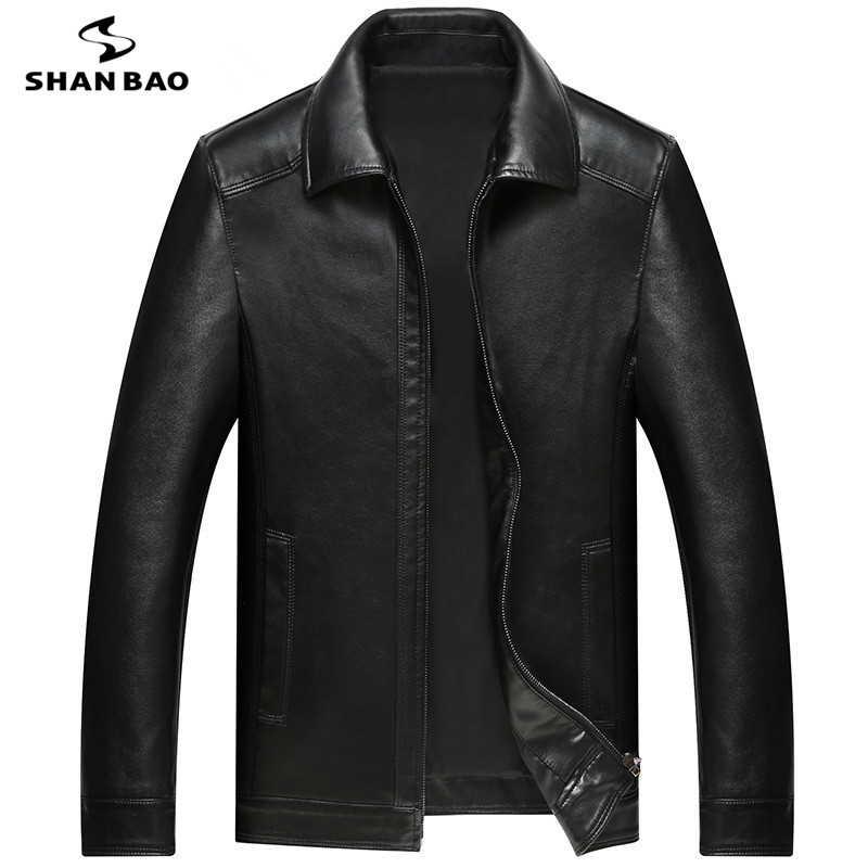SHANBAO Brand Sheepskin Coat 2019 Spring New Style Luxury High Quality Business Casual Men's Lapel Loose Leather Jacket M-4XL