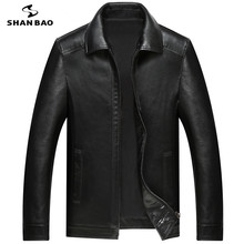 Jacket Luxury Sheepskin-Coat Business Casual Brand Lapel Loose SHANBAO M-4XL Men's New-Style