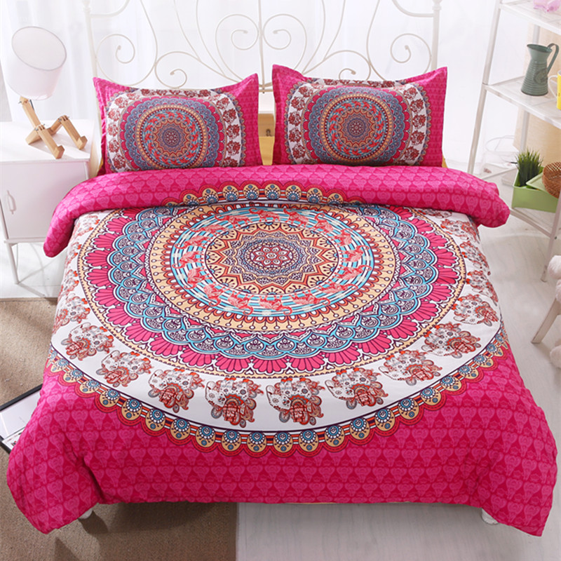 Queen Size Elephant Bedding.Us 33 78 40 Off Yi Chu Xin India Elephant Bedding Sets Queen Size Pink Bohemia Duvet Cover Set With Pillowcase Bedline Home Textile In Bedding Sets