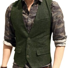 Мужской костюм жилет V образным вырезом шерсть елочка твид Повседневный жилет официальный деловой жилет Groomman для зеленый/черный/коричневый/кофейный