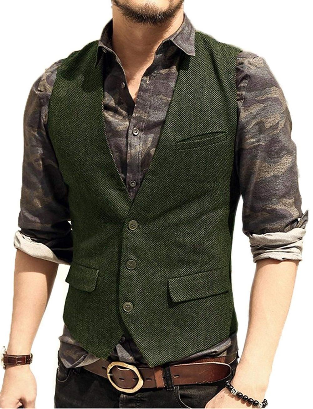 Men's Suit Vest V Neck Wool Herringbone Tweed Casual Waistcoat Formal Business Vest Groomman For Green/Black/Brown/Coffee