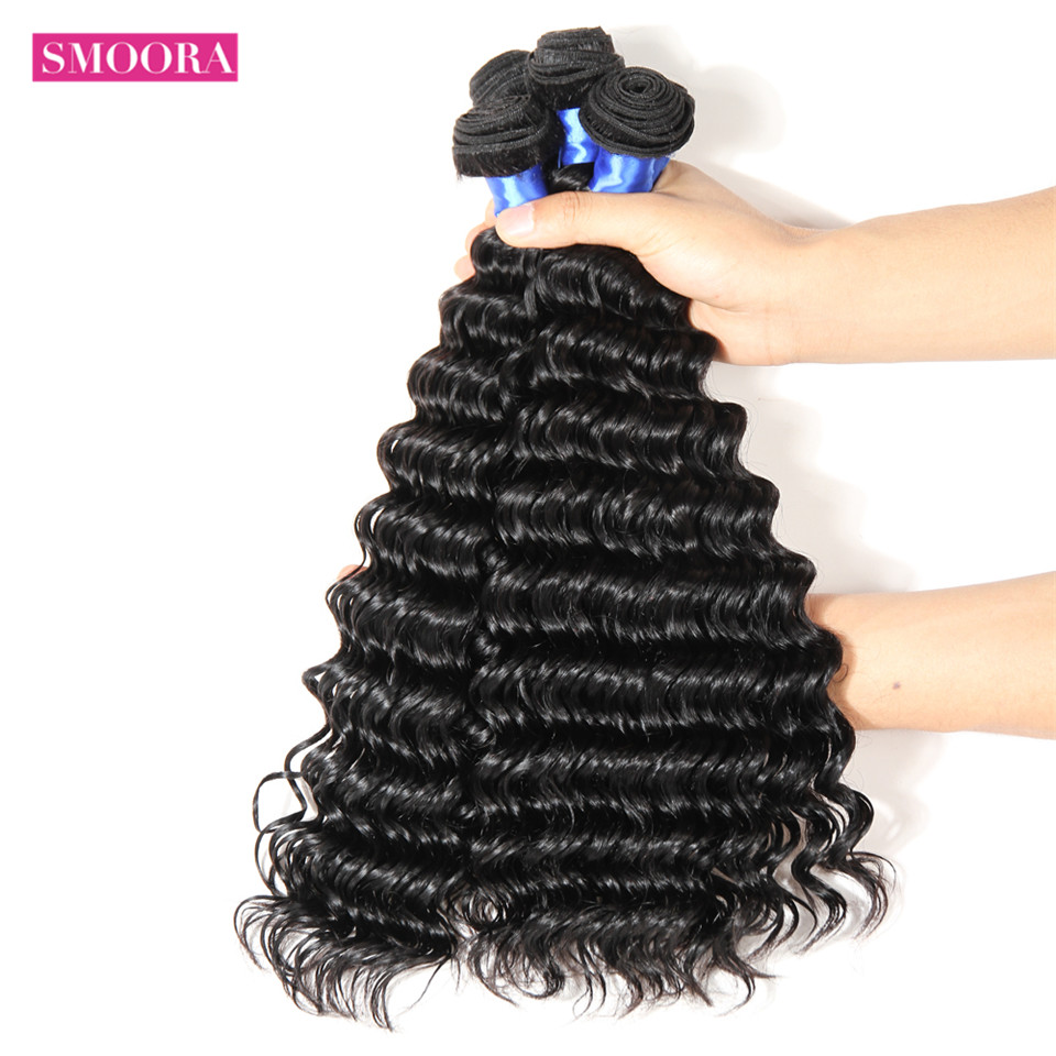 Smoora Brazilian Deep Wave Hair Human Hair Bundles With Closure Deep Curl 3 4 Bundles With Closure 4*4 Free Middle Three Part