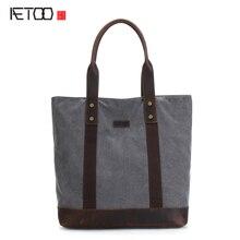 AETOO Новый холст большая сумка дорожная сумка mad верховая кожа ретро мешок мужчин и женщин плеча сумку
